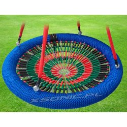 Huśtawka bocianie gniazdo średnica 100 cm siatka z lamelek zgodność z normą EN 1176 publiczny plac zabaw