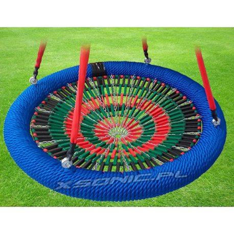 Bocianie gniazdo huśtawka siatka z lamelek średnica 120 cm na plac zabaw zgodnosć z normą EN 1176