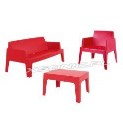Nowoczesny zestaw mebli ogrodowych Box stół ława dwa krzesła do ogrodu zewnętrzny