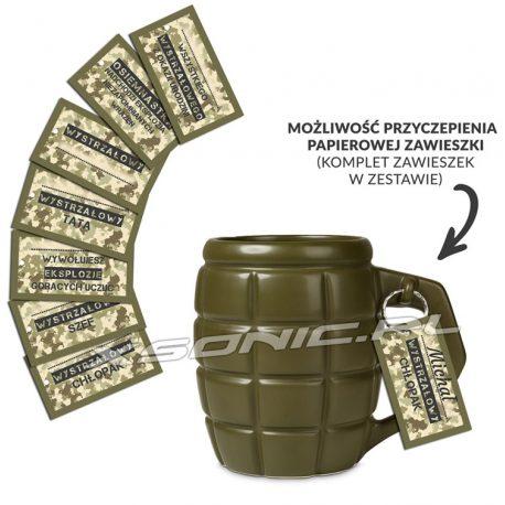Gigantyczny kubek granat z zawleczką i kompletem zawieszek idealny na prezent