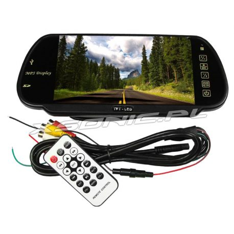 Monitor LCD 7 cali w lusterku wstecznym samochodu do kamer cofania MP5 Bluetooth w zestawie pilot do obsługi