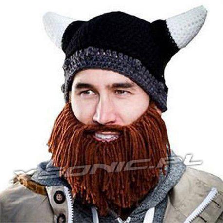 Uniwersalna ciepła czapka wikinga z brodą i rogami dla każdego