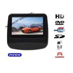 Przenośny odtwarzacz samochodowy NVOX montowany na prętach zagłówka z matrycą TFT LCD HD o przekątnej 9 cali SD USB napęd DVD