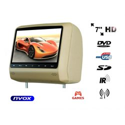 Zagłówek samochodowy NVOX z ekranem LCD 7 cali odtwarzacz DVD złącze USB/SD gry głośniki