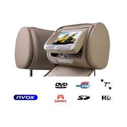 Zagłówek multimedialny NVOX ekran LCD 7 cali napęd DVD czytnik SD USB nadajnik IR FM