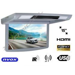 Monitor podwieszany NVOX z matrycą LED do autobusu 15 cali FULL HD automatyczne otwiera i zamyka ekran transmiter FM IR