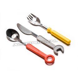 Prawdziwe sztućce dla dzieci małego mechanika klucz nóż łyżka widelec