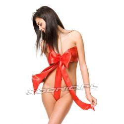 Kostium prezent sexy kokarda czerwona prezentyna strój dla niej do rozwiązania