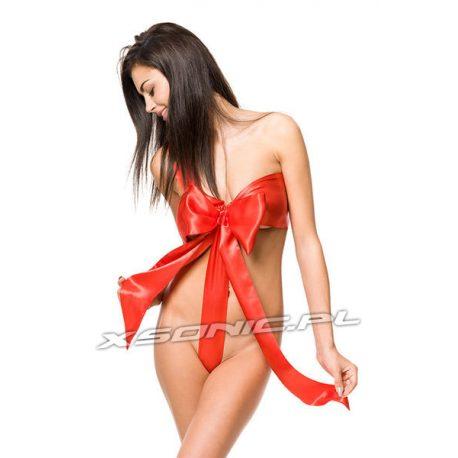 Kostium prezent sexy kokarda czerwona prezentyna strój dla niej do rozwiązania regulowana długość