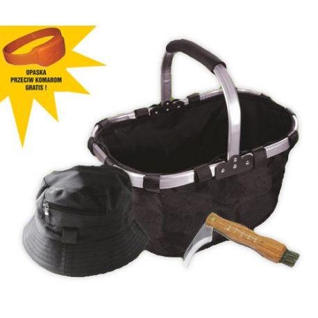 Zestaw grzybiarza niezbędnik nóż koszyk czapka opaska na komary akcesoria do zbierania grzybów