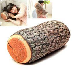 Śmieszna poduszka kłoda pieniek drzewo do domku w lesie
