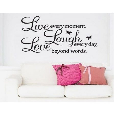 Naklejka dekoracyjna na ścianę czarny napis LIVE LAUGHT LOVE