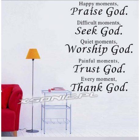 Naklejka dekoracyjna na ścianę czarny napis PRAISE GOD