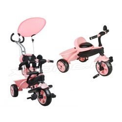 Rowerek trójkołowy z daszkiem baldachim na pedały kosz miękkie siedzenie różowy biały niebieski rączka