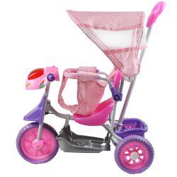 Rowerek trójkołowy z daszkiem spacerówka prowadnik 10 melodyjek piankowe koła rączka melodyjki różowy niebieski