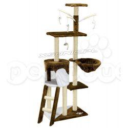 Domek legowisko Pethous drapak dla kota balkon 138 cm brązowo biały