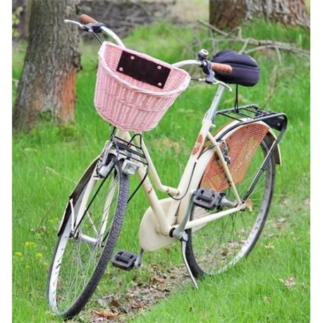 Koszyk wiklinowy na rower przedni na szybkie złącze klik różne kolory