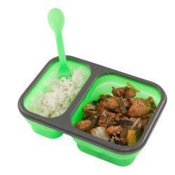 Składany pojemnik na żywność silikonowy dwukomorowy z łyżką i widelcem LUNCH BOX Camry CR 6697