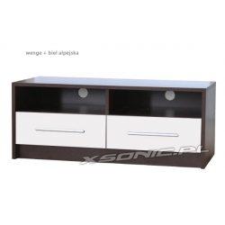 Stolik pod telewizor 2S+2W 100cm dwie wnęki na sprzęt i dwie szuflady dąb craft