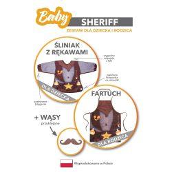 Kowbojski zestaw śliniak dla dziecka i fartuch dla rodzica szeryf komplet
