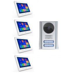 Wideodomofon czterorodzinny z kamerą na podczerwień i 4 odbiornikami LCD 9 cali dotykowy ekran Reer Electronics