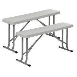 Zestaw dwóch składanych ławek kempingowych firmy Bo Camp rama stalowa