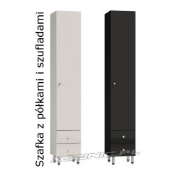 Szafka łazienkowa 40cm słupek do łazienki wysoki połysk za drzwiami 3 półki i dwie szuflady