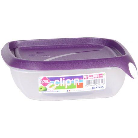 Pojemnik plastikowy CLIPER 0,75L zamykany na żywność przysmaki jedzenie prostokąt niski