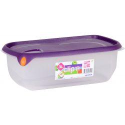 Pojemnik plastikowy CLIPER 3L zamykany na żywność przysmaki jedzenie prostokąt niski