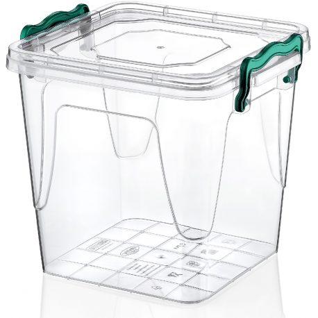 Kwadratowy pojemnik plastikowy 1,8L zamykany MULTIBOX na klipsy z uchwytami