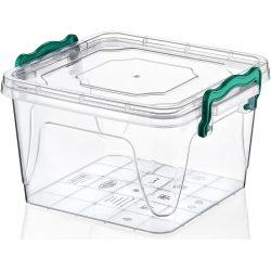 Kwadratowy pojemnik plastikowy 1,2L zamykany MULTIBOX na klipsy z uchwytami