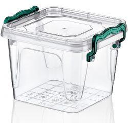 Kwadratowy pojemnik plastikowy 0,55L zamykany MULTIBOX na klipsy z uchwytami