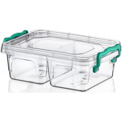 Prostokątny pojemnik na żywność plastikowy 500ml zamykany MULTIBOX dwie komory