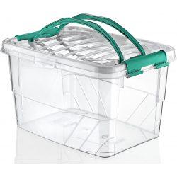Prostokątny duży pojemnik plastikowy 13L zamykany MULTIBOX na klipsy z rączkami