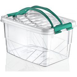 Prostokątny duży pojemnik plastikowy 7L zamykany MULTIBOX na klipsy z rączkami