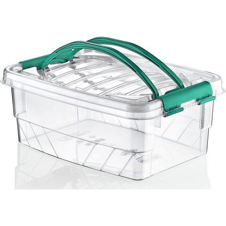 Prostokątny duży pojemnik plastikowy 5L zamykany MULTIBOX na klipsy z rączkami