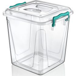 Kwadratowy pojemnik plastikowy 11L zamykany MULTIBOX na klipsy z uchwytami