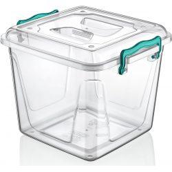 Kwadratowy pojemnik plastikowy 8,5L zamykany MULTIBOX na klipsy z uchwytami