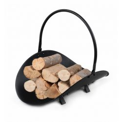 Metalowy kosz na drewno kominkowe czarny z rączką do przenoszenia