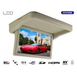 Monitor podwieszany podsufitowy marki NVOX o przekątnej 18 cali LED automatycznie otwierany i zamykany panel złącze HDMI USB SD