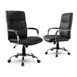 Fotel biurowy obrotowy skórzany chromowana podstawa na kółkach