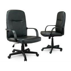 Klasyczny fotel biurowy z ekoskóry na kółkach gumowych podłokietniki