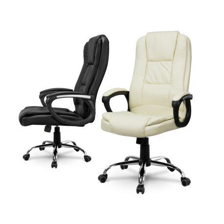 Fotel biurowy prezesa na kółkach eko skóra obrotowy TILT miękkie podłokietniki
