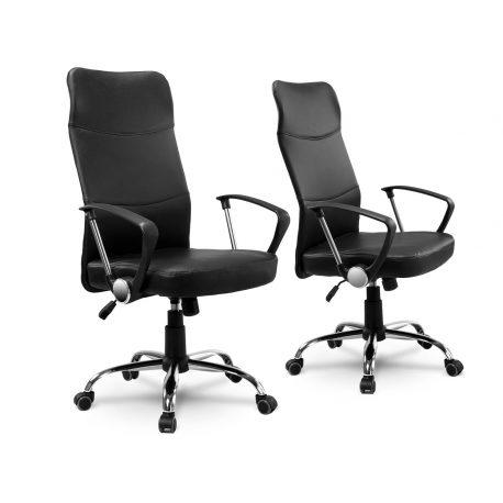 Wysoki fotel biurowy na kółkach z chromowanymi elementami TILT bujanie