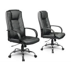 Fotel biurowy z podłokietnikami obrotowy skórzany na kółkach białe nici