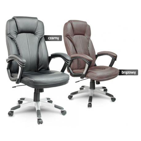 Fotel biurowy miękkie oparcie podłokietniki obrotowy z ekoskóry zagłówek
