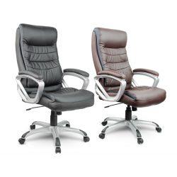 Fotel biurowy miękkie oparcie podłokietniki obrotowy z ekoskóry zagłówek wentylowany