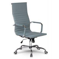 Wysoki fotel biurowy na kółkach z chromowanymi elementami TILT do gabinetu