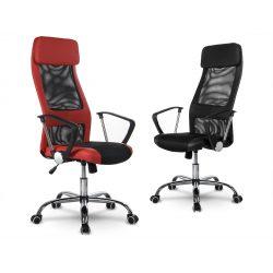 Fotel biurowy z zagłówkiem połączenie mikrosiatki ze skórą ekologiczną