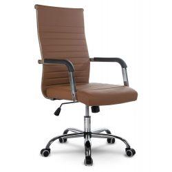 Fotel biurowy gabinetowy na kółkach z chromowanymi elementami TILT z ekoskóry